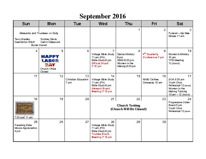 September 2016 Calender