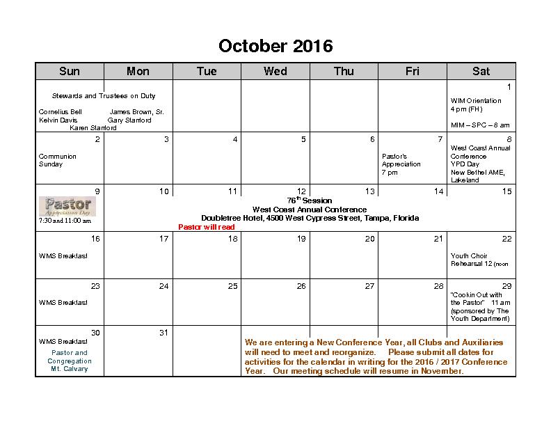 October 2016 Calender