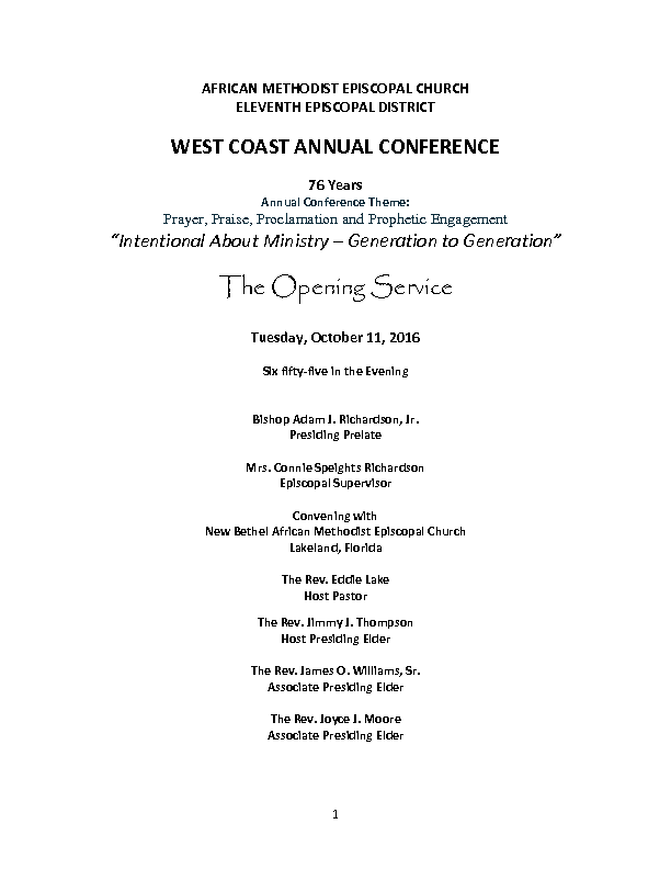 West Coast Conference Worship Guide 2016