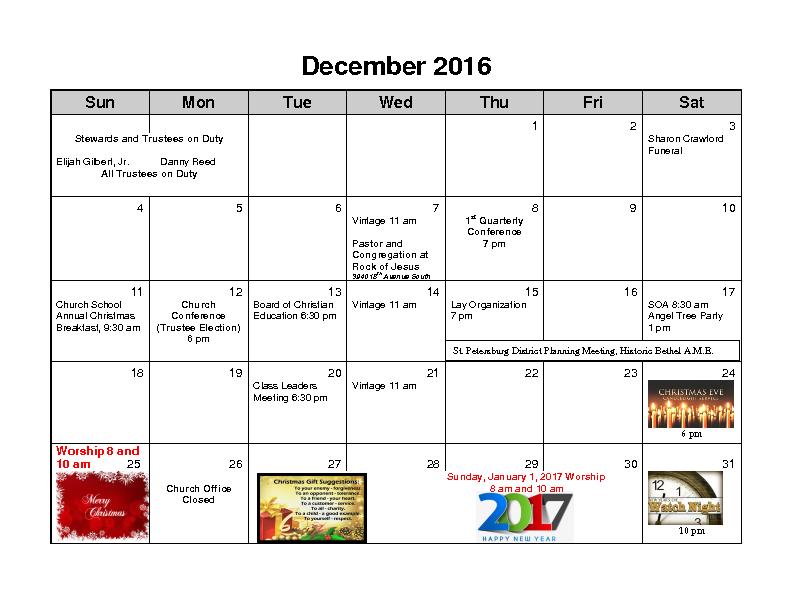 December 2016 Calender