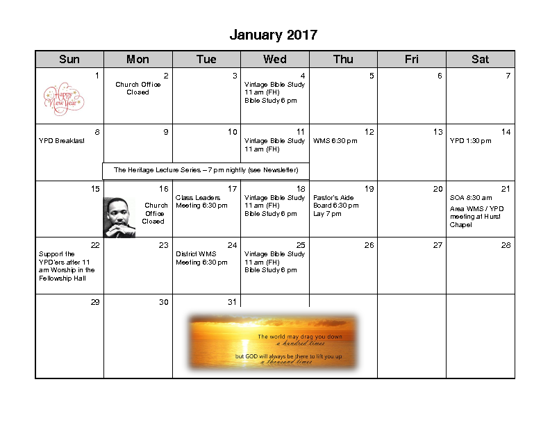 January 2017 Calender