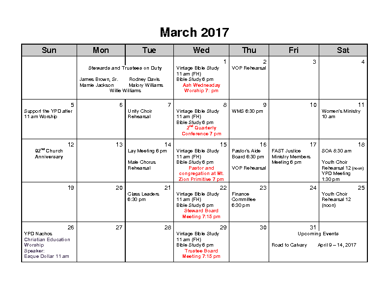 March 2017 Calender